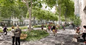 Schaubild zeigt die Vision für die Neugestaltung der Praterstraße mit mehr Platz für Menschen und Bäume